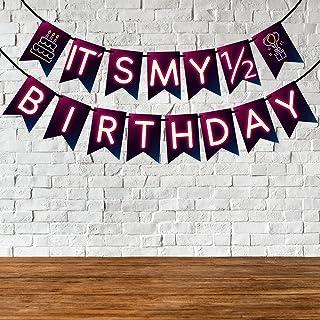 Wobbox 1/2 Birthday Bunting Banner, Neon Purple, Half Birthday Decorations, Birthday Decoration Item