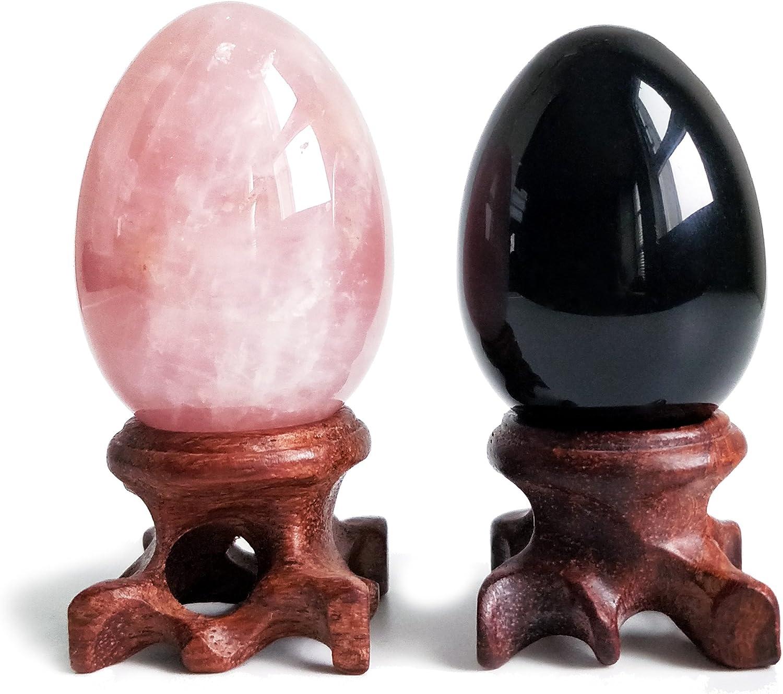 Polar Jade Set New York Mall of 2 Gemstone Rose New products, world's highest quality popular! Spheres Quartz Egg Black
