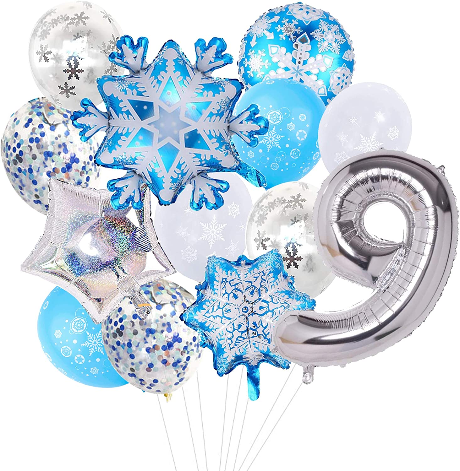 13pcs Snowflake Foil Balloons Frozen Birthday Party Winter Theme Balloons Shining Star Aluminum Balloons for Baby Shower Kids Birthday Winter Home and Party Decoration Supplies Silver 7
