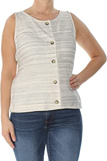 Lucky Brand Womens Striped Tie-Front Tank Top