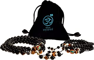 Mala Beads Gemstone Obsidian Healing Bracelet Necklace for Meditation and Prayer
