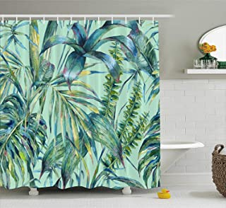 QIHUA Green Tropical Palm Tree Shower Curtain for Bathroom Shower Curtain Set with Hooks Bathroom Polyester Fabric 72 x 72 INCHES