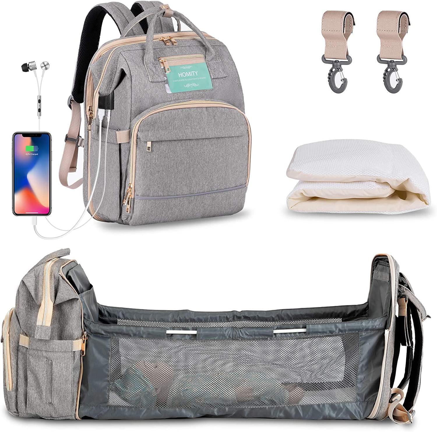 Diaper Bag Backpack with Extendable Folding Crib,HOMITY Baby Bag For Girls Boys With Changing Station,USB Charge Port,Large Capacity,Waterproof(Grey)