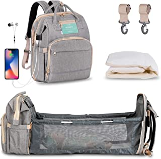 Diaper Bag Backpack with Extendable Folding Crib,HOMITY Baby Bag With Changing Station,USB Charge Port,Large Capacity