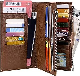 Itslife Womens Wallet RFID Blocking Passport Holder Travel Document Organizer with Zipper Pockets