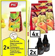 PIC - Bananflugefälla, fruktflugfälla och vinägerflugfälla - 2 lockande behållare med 4 limfällor för extra lång effekt - ...
