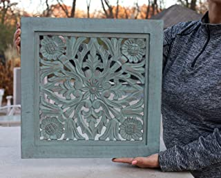 """DharmaObjects Handcrafted Lotus Wood Wall Panel Decor Hanging Art 16"""" X 16"""" (Turquoise)"""