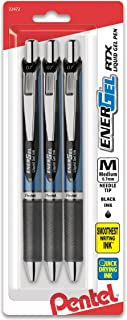 Pentel EnerGel  RTX Retractable Gel Ink Pen, (0.7mm), Needle Tip, Black Ink, 3 Pack (BLN77BP3A)