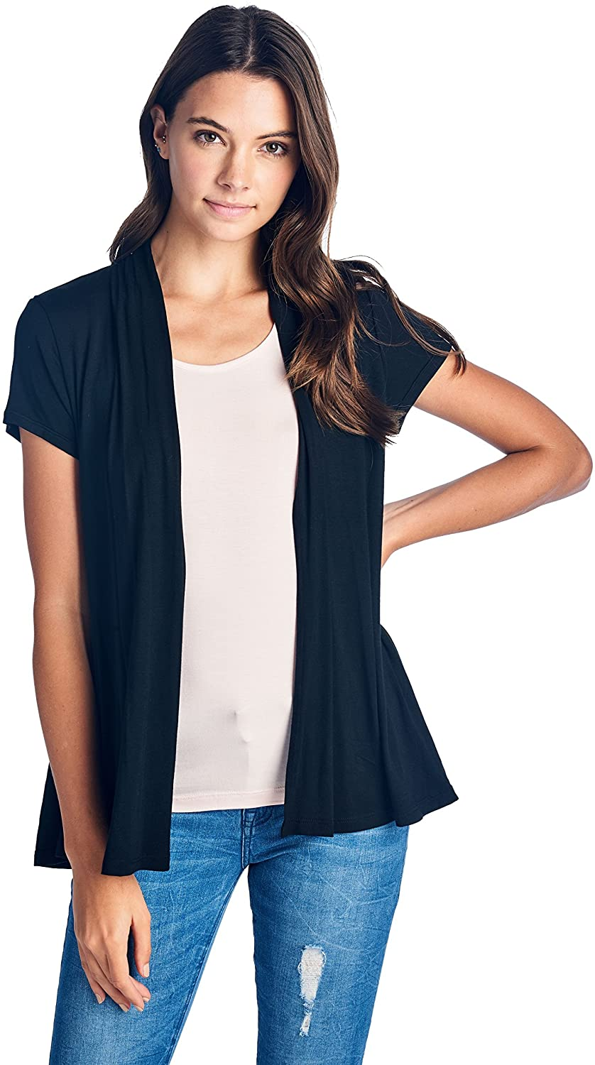 Women Short Sleeve Extra Soft Bamboo Casual Open Front Flowy Lightweight Cardigan - Made in USA