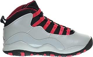 Girls Air 10 Retro (GS) Big Kids Basketball Shoes Wolf Grey/Black-Legion Red 487211-009 (4 M US)