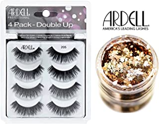 Ardell 4-PACK DOUBLE UP, 205 BLACK MULTIPACK LASHES, Contains 4 Pair of Eye Lashes (with bonus Skin/Hair GLITTER) (205 Black (Double Up))