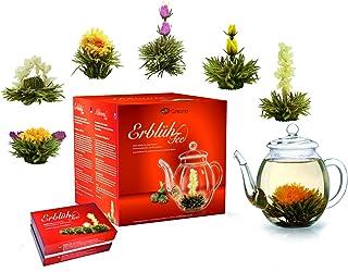 Creano Teeblumen Mix - Geschenkset ErblühTee Frühjahrslese mit Glaskanne Weißer Tee in 6 Sorten
