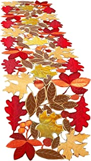 Embroidered Cutwork Maple Table Runner Thanksgiving Embroidered Leaves Table Cover Fall Harvest Leaves Table Runner Fall L...