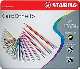 Premium Colouring Pencil Stabilo Carbothello Pastel Pencil Metal Box Of 24 Assorted Colours, 1424-6, 24-color set