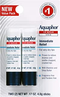 Aquaphor Lip Repair Stick - Soothes Dry Chapped Lips - Two(2) .17 Oz Sticks