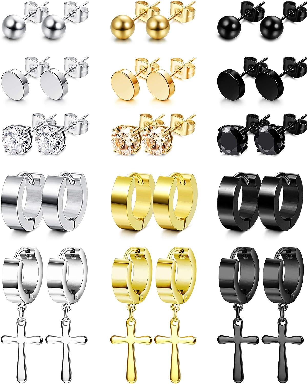 LOYALLOOK 15 Pairs Stainless Steel Stud Earrings Round Ball CZ Flat Stud Earrings Cross Dangle Hinged Hoop Earrings Set for Men Women