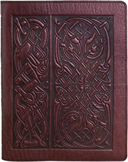 Genuine Leather Composition Notebook Cover with Insert, 8.25x10.25 Inches, Celtic Hounds, Wine Color, Made in the USA by Oberon Design