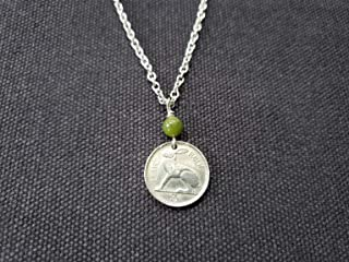 CoinageArt Irish Coin Necklace Ireland 3 Pence Necklace from Ireland dated 1953 with Connemara on Brilliant Adjustable Chain -Rabbit Coin Necklace -Rabbit Necklace 744