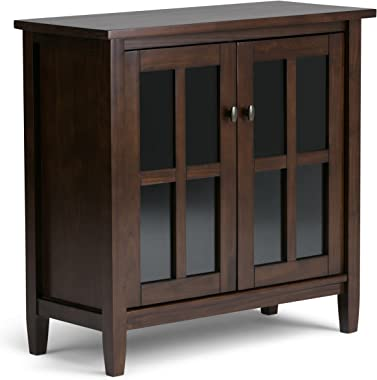 SIMPLIHOME Warm Shaker SOLID WOOD 32 inch Wide Rustic Low Storage Cabinet in Tobacco Brown, with 2 Adjustable Shelves, Temper