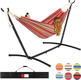 Best Choice Products 2-Person Double Hammock Set for Indoor, Outdoor w/Steel Stand, Carrying Case, Red Stripes