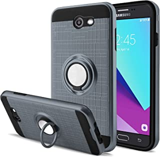 Galaxy J3 Emerge/J3 Mission/J3 Eclipse/J3 Luna Pro/Amp Prime 2/J3 Prime/Express Prime 2 Case with Screen Protector,AnoKe 360 Degree Rotating Ring Holder Kickstand for Galaxy J3 2017 ZS Metal Slate