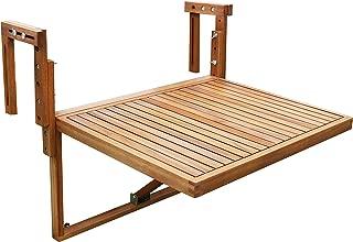 Interbuild Toronto Balcony Folding Deck Table, Adjustable, FSC Acacia Wood, Golden Teak Color, 28 x 24 Inches