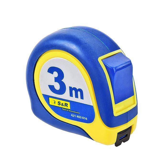 186 opinioni per S&R Metro a Nastro 3,0 m x 16mm, Flessometro Professionale Antiurto Morbido,