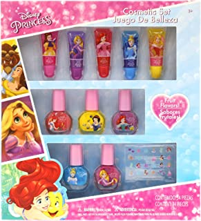 Townley Girl Disney Princess Super Sparkly Cosmetic Set with Lip Gloss, Nail Polish and Nail Stickers - 11 Pack