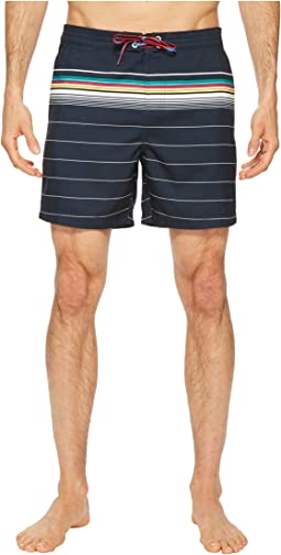 Original Penguin Engineered Bold Stripe Fixed Volley Swim Trunks
