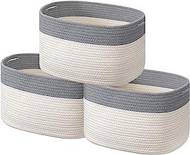 Cotton Rope Storage Baskets Set of 3 Storage Bins Organizer Decorative Woven Basket for Nursery Baby Clothes, Toy, Makeup,...