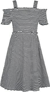 100/% Pima Cotton Dakomoda Toddler Boys Roll Up Black White Striped Dress Shirt