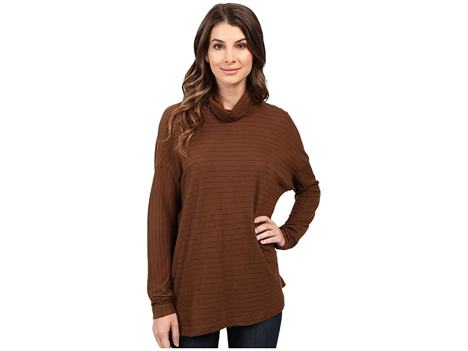 Three Dots Jewel Long Sleeve Turtleneck (Burnt Umber) Women