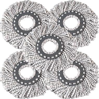 Primeway® Polyester Economy Mop Head Spare Refills, 85 Grams Each, 32 cm Microfibre Diameter, 16 cm Ring Size, Grey/White, Pa
