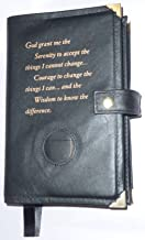 Black Leather Double AA Alcoholics Anonymous Big Book & 12 Steps and 12 Traditions Book Cover Serenity Prayer and Medallion Holder