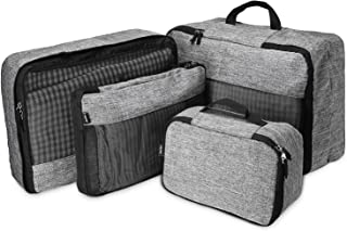 ProCase 4 Set Packing Cubes for Travel, Lightweight Compression Multi-Functional Travel Luggage Organizers with an Extra Toiletry Bag –Grey
