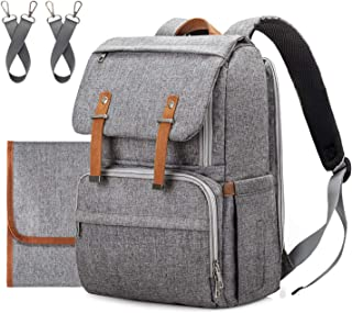 Diaper Bag Backpack,Upsimples Multi-Function Travel Backpack with Changing Pad,Stroller Strap, Laptop Back Pack for Working Mom&Dad,Large Capacity, Waterproof and Stylish, Gray
