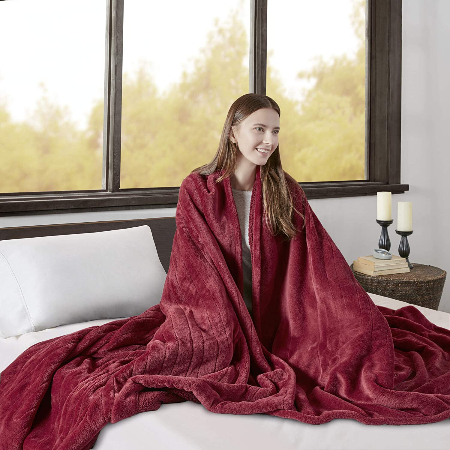 Beautyrest Elect Electric Blanket with Two 20 Heat Level Setting Controllers, King, Garnet