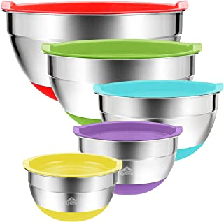 Mixing Bowls with Lids 5 Set Australia – Stainless Steel Silicone Non Slip Grip Base - Quality Colourful Prep Bowls for Sa...