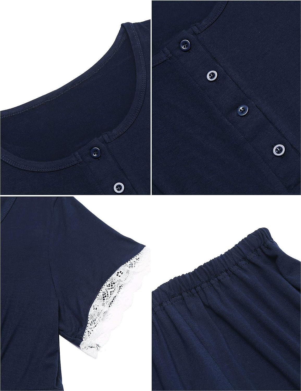 MAXMODA Damen Umstandspyjama Stillfunktion Stillschlafanzug Kurzarm und Lang Hosen