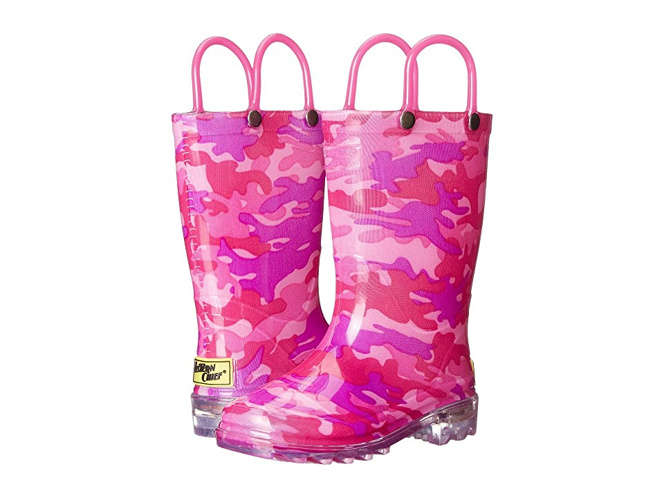 Western Chief Kids Lighted Rain Boots (Toddler/Little Kid) (Pink Neo Camo) Girls Shoes