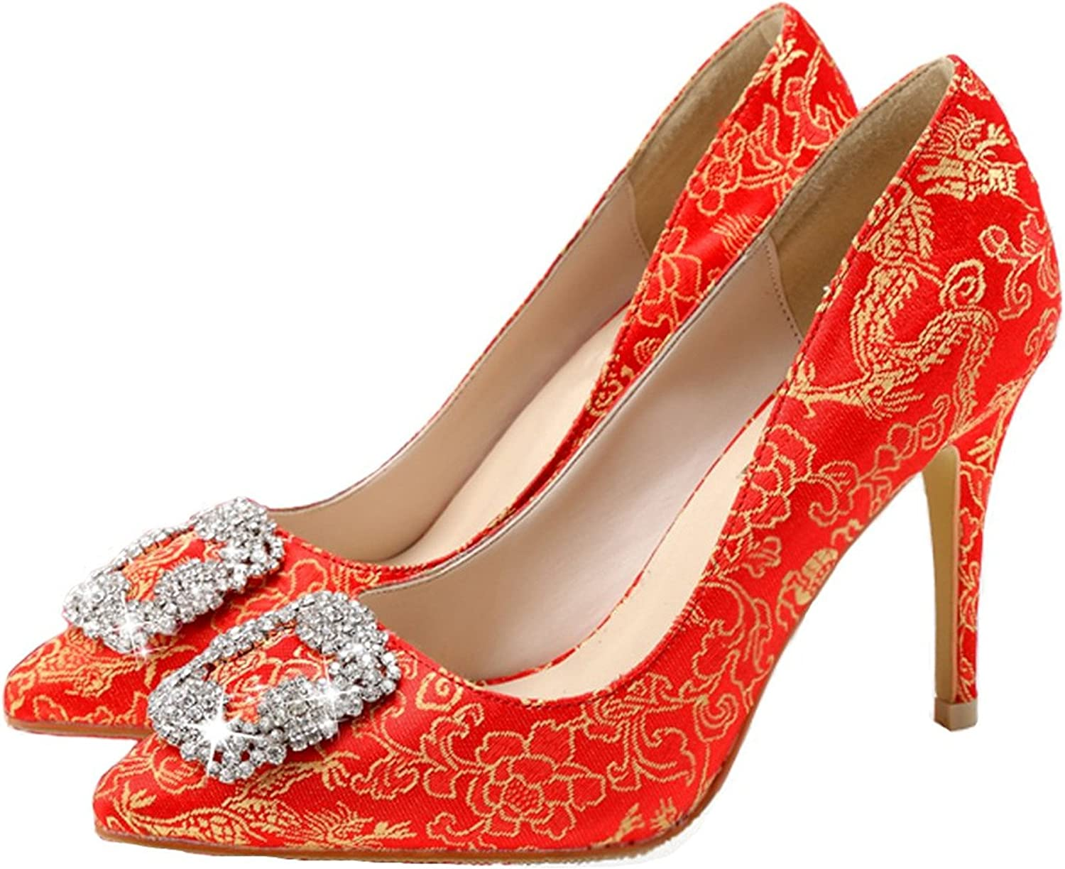 Reinhar Shiny Toe Wedding Pump Satin Exotic Embroidery Dress High Heel