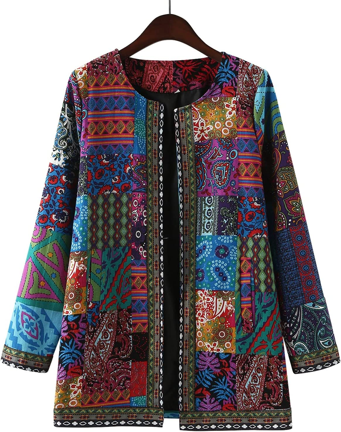 Tenworld Women's Fashion Jacket Leisure Retro Cotton Linen African Print Loose Long Sleeve Coat Cardigan