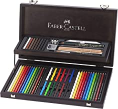 Faber-Castell Artist's Pencils Art and Graphic Compendium 12 Polychromos Artist's Pencils and Pastels Set in Wooden Case, ...