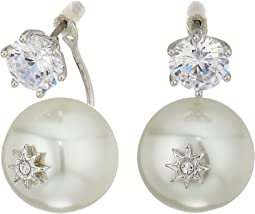 Betsey Johnson - Blue by Betsey Johnson Cubic Zirconia Stone Studs with Pearl Ear Jacket Attached at Back Earrings