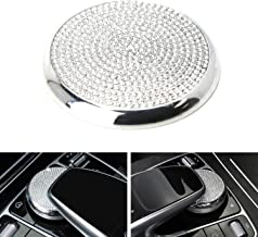 iJDMTOY Silver Chrome Bling Crystal Décor Cover For Mercedes W205 C-Class X205 GLC-Class, W213 E-Class Multimedia Control Knob