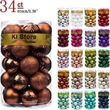 KI Store 34ct Christmas Ball Ornaments Brown Bronze 2.36-Inch Shatterproof Christmas Decorations Tree Balls for Holiday Wedding Party Decoration, Tree Ornaments Hooks Included