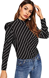 Women's Elegant Striped Puff Sleeve Blouse Top