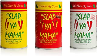 Slap Ya Mama All Natural Cajun Seasoning from Louisiana Spice Variety Pack, 8 Ounce Cans, 1 Cajun, 1 Cajun Hot, 1 White Pe...