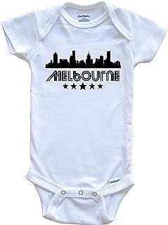 Melbourne Australia Skyline Retro Style Baby Onesie