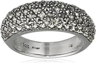 Esse 女式戒指 925 纯银复古白铁矿石